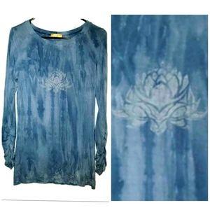 Miraka Lotus Flower Yoga Top Tie Dye Ruched Sleeve